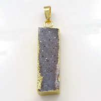 Natural Agate Druzy Pendant, Brass, with Ice Quartz Agate, Rectangle, gold color plated, druzy style, 10x37x8mm, Hole:Approx 5x7mm, Sold By PC