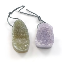 Natural Agate Druzy Pendant, Ice Quartz Agate, druzy style & mixed, 20-24x33-45x10-13mm, Hole:Approx 2.5mm, Sold By PC