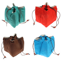 Linen Cotton Drawstring Pouches, with Waxed Linen Cord & Wood, mixed colors, 120x125x140mm, Sold By PC