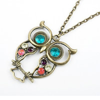 Rhinestone Zinc Alloy Necklace, Owl, antique bronze color plated, oval chain & with rhinestone, 41x57mm, Length:Approx 15.5 Inch, Sold By Strand