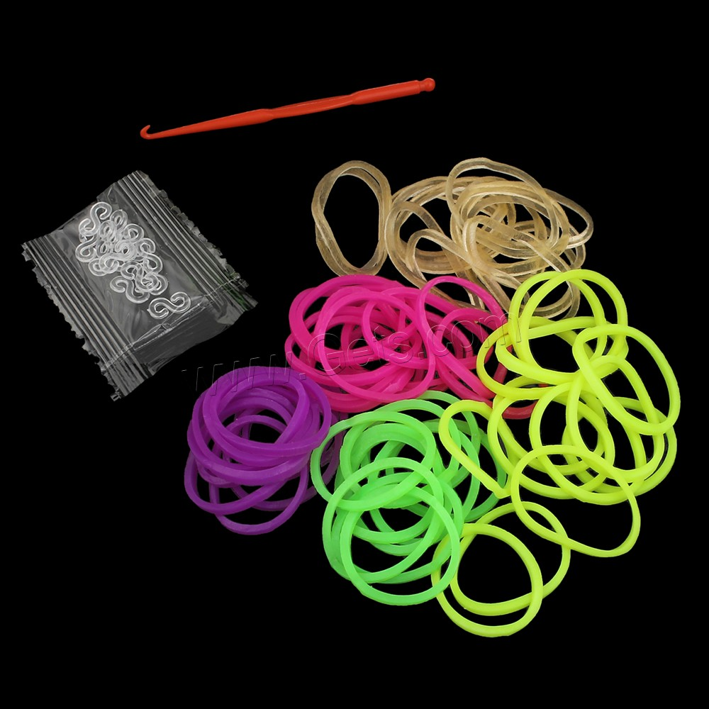Loom Bands, Rubber, with Plastic, attachted crochet hook & with plastic S clip, more colors for choice, 17x1mm, Approx 300PCs/Bag, Sold By Bag
