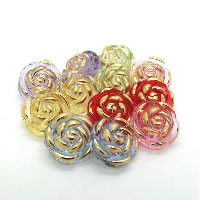 Acrylic Shank Button, Flower, transparent & gold accent, mixed colors, 13mm, 4PCs/Bag, Sold By Bag
