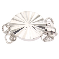 Zinc Alloy Box Clasp, Flat Round, platinum color plated, 3-strand, lead & cadmium free, 17x10x5mm, Hole:Approx 1mm, Sold By PC
