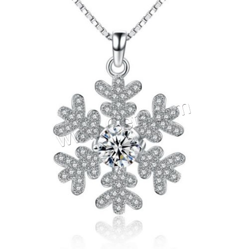 Cubic Zirconia Micro Pave Sterling Silver Pendant, 925 Sterling Silver, Snowflake, micro pave cubic zirconia, 20x24mm, Hole:Approx 3mm, Sold By PC