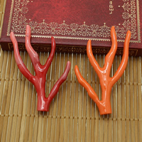 Solid Color Resin Beads, Antlers, half-drilled, more colors for choice, 31.5x62x7mm, Hole:Approx 1mm, Sold By PC