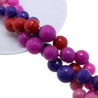 Solid Color Resin Beads, Round, graduated beads & faceted, more colors for choice, 8-18mm, Hole:Approx 1mm, Length:Approx 17.5 Inch, Approx 33PCs/Strand, Sold By Strand