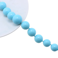 Solid Color Resin Beads, Round, graduated beads, light blue, 8-18mm, Hole:Approx 1mm, Length:Approx 17.5 Inch, Approx 33PCs/Strand, Sold By Strand