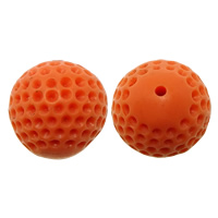 Solid Color Resin Beads, Round, reddish orange, 15mm, Hole:Approx 1mm, Sold By PC