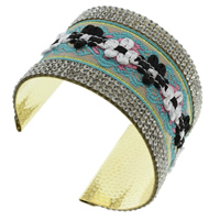 Iron Friendship Cuff  Bangle, with Nylon, gold color plated, with rhinestone, lead & cadmium free, 69x50x55mm, Inner Diameter:Approx 64x51mm, Length:Approx 7.5 Inch, Sold By PC