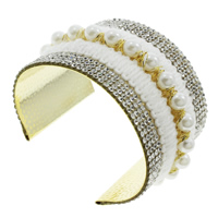 Iron Friendship Cuff  Bangle, with ABS Plastic Pearl & Wool, gold color plated, with rhinestone, lead & cadmium free, 81x50x60mm, Inner Diameter:Approx 66x52mm, Length:Approx 8 Inch, Sold By PC