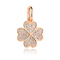 Sterling Silver Clover Pendant, 925 Sterling Silver, Four Leaf Clover, real rose gold plated, micro pave cubic zirconia, 20x15mm, Hole:Approx 5mm, Sold By PC