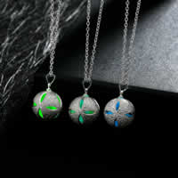 comeon® Jewelry Necklace, Zinc Alloy, with Fluorescent Powder Stone, Round, real silver plated, oval chain & luminated, more colors for choice, 16x25mm, Length:Approx 19.6 Inch, Sold By Strand