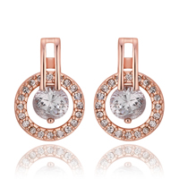 comeon® Jewelry Earring, Zinc Alloy, brass post pin, Flat Round, real rose gold plated, with rhinestone, 12x17mm, Sold By Pair