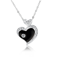 comeon® Jewelry Necklace, Brass, Heart, real silver plated, oval chain & micro pave cubic zirconia & enamel, 26x21mm, Length:Approx 17.7 Inch, Sold By Strand