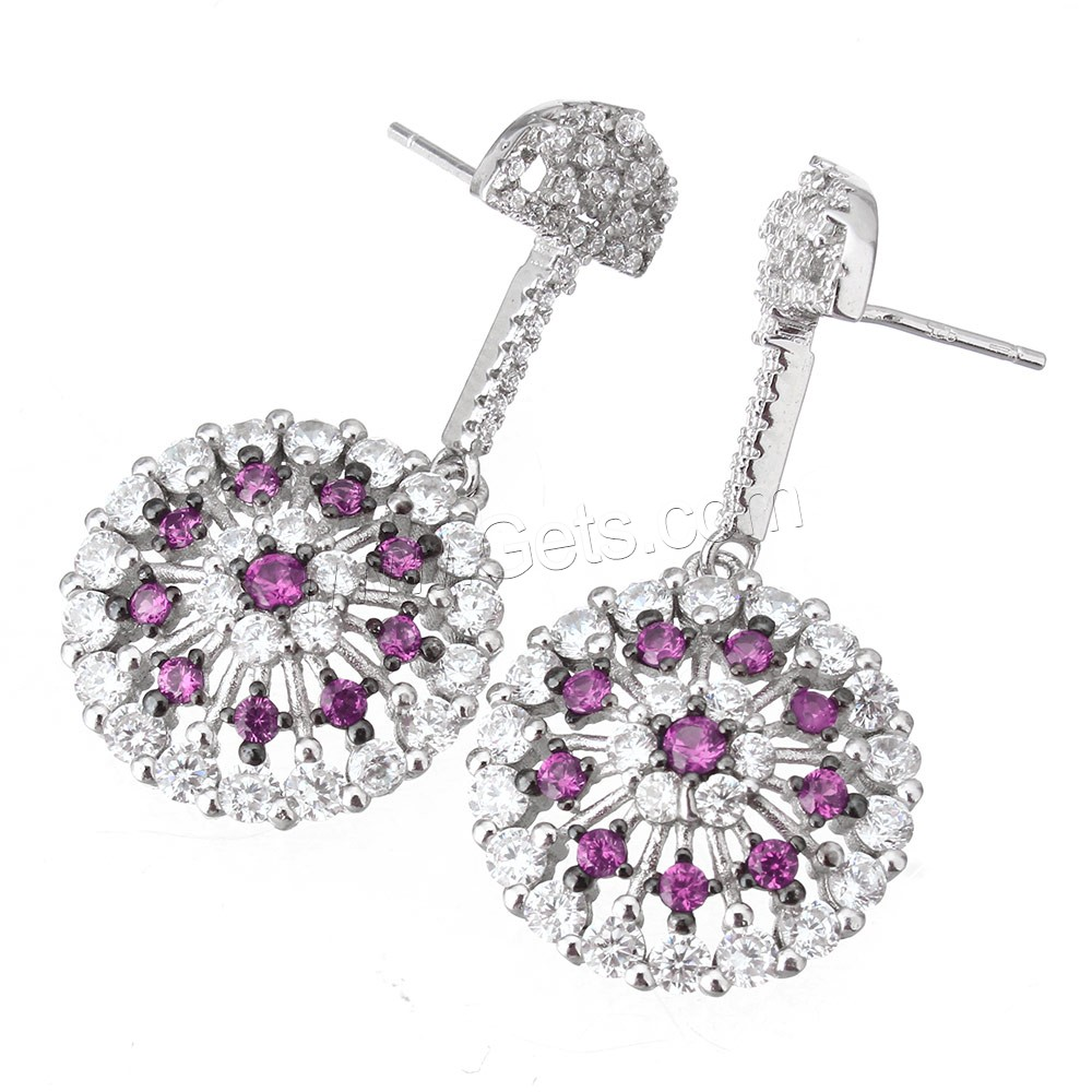 Cubic Zirconia Micro Pave Sterling Silver Earring, 925 Sterling Silver, Flower, plated, without earnut & micro pave cubic zirconia, more colors for choice, 18.5x20x6.5mm, 37.5mm, 0.9mm, Sold By Pair