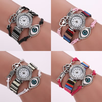 Evil Eye Watch, Waxed Cotton Cord, with PU & Cotton & Glass & Zinc Alloy, Chinese movement, with 2lnch extender chain, plated, Islamic jewelry & with rhinestone, more colors for choice, 20mm, 16mm, Length:Approx 6.3 Inch, Sold By Strand