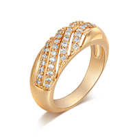Gets® Finger Ring, Brass, real gold plated, with cubic zirconia, nickel, lead & cadmium free, 7mm, US Ring Size:7, Sold By PC