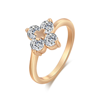 Gets® Finger Ring, Brass, Flower, real gold plated, different size for choice & with cubic zirconia & faceted, nickel, lead & cadmium free, 11mm, Sold By PC