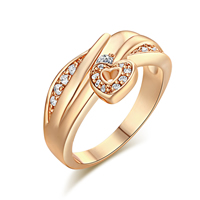 Gets® Finger Ring, Brass, Heart, real gold plated, different size for choice & micro pave cubic zirconia, nickel, lead & cadmium free, 11mm, Sold By PC