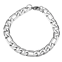 Stainless Steel Figaro Chain, original color, 9x15x2.5mm, 9x19x2.5mm, Length:Approx 9 Inch, Sold By Strand
