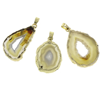 Natural Agate Druzy Pendant, Ice Quartz Agate, with brass bail, Nuggets, gold color plated, druzy style, 32x37x3mm-40x60x5mm, Hole:Approx 4x5mm, Sold By PC