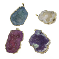 Natural Agate Druzy Pendant, Ice Quartz Agate, with brass bail, Nuggets, gold color plated, druzy style, mixed colors, 33x40x10mm-45x52x17mm, Hole:Approx 3x5mm, Sold By PC