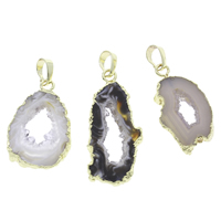 Natural Agate Druzy Pendant, Ice Quartz Agate, with brass bail, Nuggets, gold color plated, druzy style, mixed colors, 18x33x5mm-20x40x4mm, Hole:Approx 4x6mm, Sold By PC