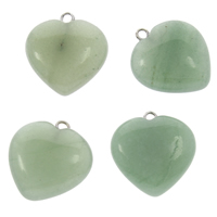 Green Aventurine Pendant, Heart, platinum color plated, 20x22x7mm, Hole:Approx 2mm, Sold By PC