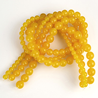 Imitation Amber Resin Beads, Round, imitation beeswax & different size for choice, yellow, Sold By Strand