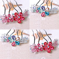 Hair Pins, Zinc Alloy, with Crystal, platinum color plated, faceted & with rhinestone, more colors for choice, 100x80mm, Sold By PC