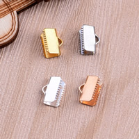 Brass Ribbon Crimp End, Rectangle, plated, more colors for choice, nickel, lead & cadmium free, 6x10mm, Hole:Approx 2mm, Sold By PC