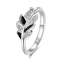 comeon® Finger Ring, Brass, Leaf, real silver plated, different size for choice & micro pave cubic zirconia & enamel, 8x14mm, Sold By PC