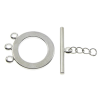 Brass Toggle Clasp, platinum color plated, 3-strand, nickel, lead & cadmium free, 18x21x2mm, 23x5x3mm, Hole:Approx 1.5mm, 100Sets/Bag, Sold By Bag
