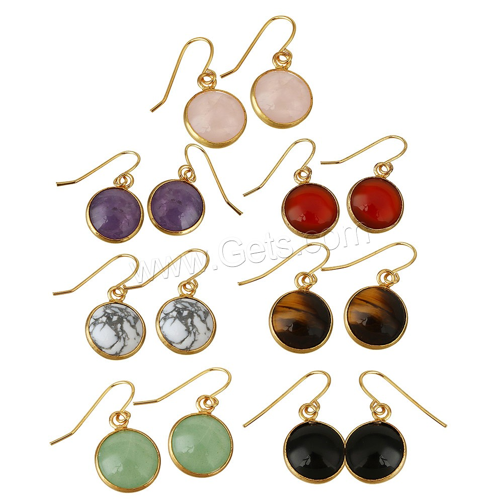 Gemstone Drop Earring Brass with Gemstone Flat Round gold ...