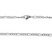 Stainless Steel Figaro Chain, original color, 7x3x1mm, 4x3x1mm, Length:Approx 18 Inch, Sold By Strand