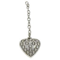 Zinc Alloy Extender Chain, Heart, platinum color plated, with rhinestone, lead & cadmium free, 14x15x4mm, Length:Approx 3 Inch, Sold By Strand