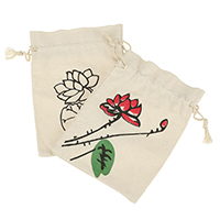 Linen Drawstring Pouches, with Cotton, Rectangle, different designs for choice, 120x172x6mm, Sold By PC