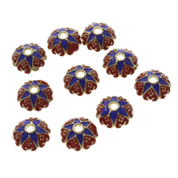 Cloisonne Bead Cap, Flower, lead & cadmium free, 10x4mm, Hole:Approx 2mm, Sold By PC
