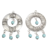 Turquoise Zinc Alloy Pendants, with Synthetic Turquoise, antique silver color plated, lead & cadmium free, 35x56x5mm, Hole:Approx 4mm, Sold By PC