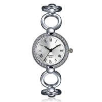 comeon® Women Jewelry Watch, Zinc Alloy, with Glass, platinum color plated, with rhinestone, 28mm, Length:Approx 7.8 Inch, Sold By PC
