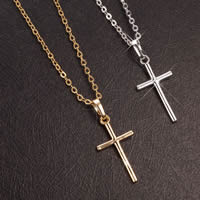 Gets® Jewelry Necklace, Brass, Cross, plated, oval chain, more colors for choice, nickel, lead & cadmium free, 12x29mm, Length:Approx 18 Inch, Sold By Strand