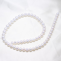 Round Cultured Freshwater Pearl Beads, natural, white, 7-8mm, Hole:Approx 0.8mm, Length:Approx 15.5 Inch, Sold By Strand