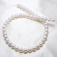 Round Cultured Freshwater Pearl Beads, natural, white, 9-10mm, Hole:Approx 0.8mm, Length:Approx 15.5 Inch, Sold By Strand