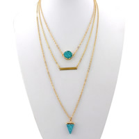 Fashion Multi Layer Necklace, Zinc Alloy, with iron chain & Synthetic Turquoise & Resin, with 5cm extender chain, Triangle, gold color plated, imitation druzy quartz & oval chain & 3-strand, lead & cadmium free, 15mm, 18mm, Length:Approx 15.5 Inch, Sold By Strand