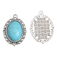 Turquoise Zinc Alloy Pendants, with Synthetic Turquoise, Flat Oval, antique silver color plated, lead & cadmium free, 21x29x7mm, Hole:Approx 1mm, 10PCs/Bag, Sold By Bag