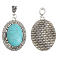Turquoise Zinc Alloy Pendants, with Synthetic Turquoise, Flat Oval, antique silver color plated, lead & cadmium free, 31x45x9mm, Hole:Approx 5x7mm, 1/PC, Sold By PC