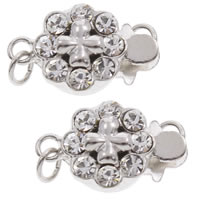 Brass Box Clasp, Flower, real silver plated, with rhinestone & single-strand, lead & cadmium free, 14x9x5mm, Hole:Approx 1mm, Sold By PC