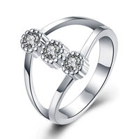 comeon® Finger Ring, Brass, real silver plated, different size for choice & micro pave cubic zirconia, Sold By PC