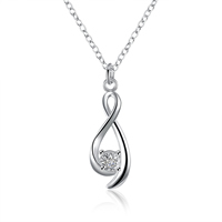 comeon® Jewelry Necklace, Brass, Teardrop, real silver plated, oval chain & with cubic zirconia, 12x35mm, Length:Approx 17.7 Inch, Sold By Strand