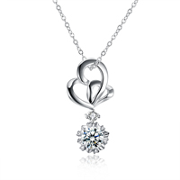 comeon® Jewelry Necklace, Brass, Heart, real silver plated, oval chain & with cubic zirconia, 15x29mm, Length:Approx 17.7 Inch, Sold By Strand